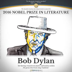 "Bob Dylan wins 2016 Nobel Literature Prize  US singer-songwriter Bob Dylan has just been awarded the Nobel Prize in Literature for ""having created new poetic expressions within the great American song tradition.""  The 75-year-old living legend's 54 years in the music scene, since the release of his first album in 1962, were celebrated by the Swedish Academy."