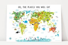 "Decorate your child's playroom with educational world map for kids poster. ""My First World Map"" poster has colorful, modern and adorable design."