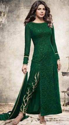 5e33758f17 Bollywood Star Priyanka Chopra Dark Green Ankle Length Kameez ES514927