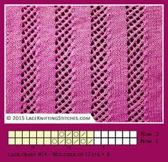 Co 12 + 6 / Reversible lace knitting. Lace chart Easy to remember Lace Knitting Stitches, Lace Knitting Patterns, Knitting Charts, Knitting Needles, Knitting Yarn, Stitch Patterns, Crochet Chart, Knit Crochet, Bobbin Lace
