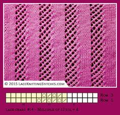Lace knitting. Free chart 14
