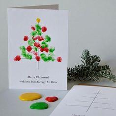 moderne weihnachtskarten weihnachtsbaum fingerabdruck #weihnachtsdeko #ideen #ideas #christmas #christmascards #basteln #paper