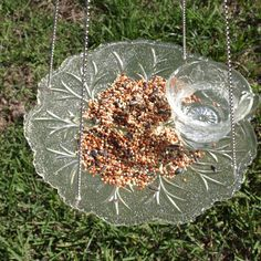 Vintage Punch Cup Leaf Hanging Bird Feeder Glass repurposed via Etsy