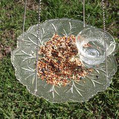 Vintage Punch Cup Leaf Hanging Bird Feeder Glass repurposed via Etsy