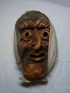 Vintage German Black Forest Carved Wood Wall Mask Witch #AZ1 #BlackForest