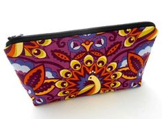 Large Cosmetic Bag Flat bottom Zipper Pouch ECO Friendly Padded Plum Peascock by JPATPURSES
