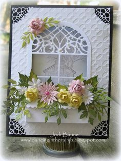Window Box by memoriesformom - Cards and Paper Crafts at Splitcoaststampers Paper Cards, Diy Cards, Karten Diy, Window Cards, Window Boxes, Embossed Cards, Pretty Cards, Creative Cards, Flower Cards