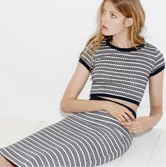 Ribbed knit crop top and matching skirt from Zara