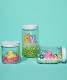 Create faux-terrariums with mason jars and leftover jellybeans. Your Peeps will be very happy!