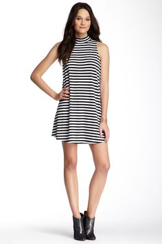 Sleeveless Turtleneck Striped A-Line Dress by Soprano on @nordstrom_rack