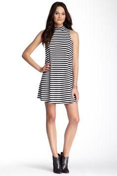 Sleeveless Turtleneck Striped A-Line Dress by Soprano on @nordstrom_rack