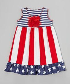 Look at this #zulilyfind! Red & White Stripe Ruffle Dress - Toddler & Girls by SILLY MILLY #zulilyfinds