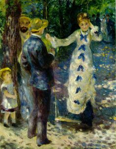 "Look at the beautiful light and shadows.  ""The Swing"" by Renoir, 1876 another of my favorites"