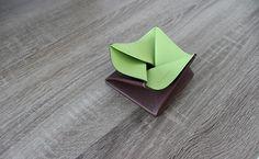 Porte-monnaie Origami pour homme - Cuir Marron Brut et Vert Tropic (portefeuille vert clair) - hurbane