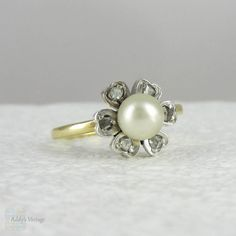 Vintage Pearl & Diamond Flower Engagement Ring. Daisy Pearl Ring Studded with Diamonds, Circa 1930s.
