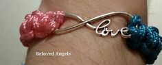 """Pink and Blue Paracord bracelet (adjustable) with """"love"""" charm – Beloved Angels: Remembrance & Cause Awareness"""