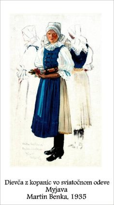 Slovakia, Myjava Bratislava, Folk Costume, Old Postcards, Folklore, Graphic Art, Illustration Art, Tapestry, History, Drawings