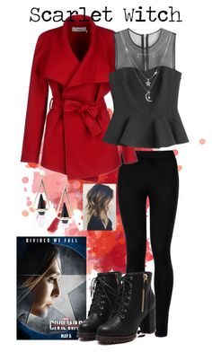 """Captain America: Civil War// Scarlet Witch"" by stellabear0627 on Polyvore featuring Wolford, BGN, McQ by Alexander McQueen and Charlotte Russe"