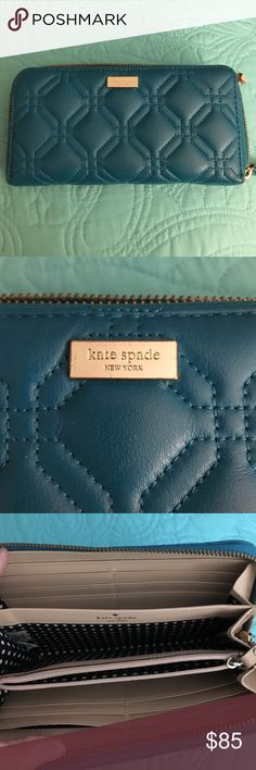 SALE💥 Kate Spade Astor court Neda wallet NEW! Kate Spade Astor court Neda wallet in hard to find teal blue.  Used but In pretty much perfect condition. Soft quilted genuine leather.       Hardware is 14-karat gold plated Wallet is zip around 8x4  One slip pocket at the exterior back Lining is KSNY custom woven bikini dot.  The inside is creamish leather & black white dots cotton lining. 3 main sections and a zip compartment Holds up to 12 cards and 2 note slots.   View on M and save!  NO…