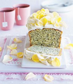 Poppy seed and lemon cake with cream cheese frosting.