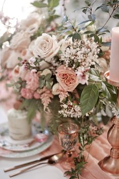 peach and pink centerpiece ideas - photo by LoveHer Photography http://ruffledblog.com/botanical-baby-shower-with-rose-gold