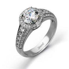 Shop online SIMON G MR2196 Halo 18K - White Gold Diamond Engagement Ring at Arthur's Jewelers. Free Shipping