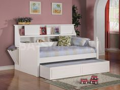 Daisy Twin Bookcase Daybed with Under-Bed Trundle