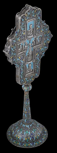 Armenian Orthodox Altar Cross, Enamelled Silver. Find this and other Asian Art at CuratorsEye.com.