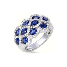 Goldring Blauer Saphir Und Diamant Cluster Ring   Best Diamond Ring Sets