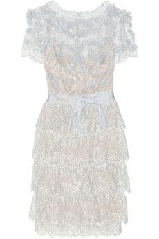 Tea time is relates the perfect day to dress the Marchesa way. Marchesa Tiered floral-appliquéd lace dress | NET-A-PORTER