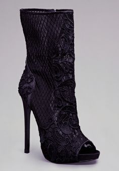 Spice things up this season with our lace coated haute-couture stiletto heel. Features a mesmerizing crochet-style netting appliqu' , with just a peek at your toes! Add a lace mini dress, and you'll have no trouble at the door.