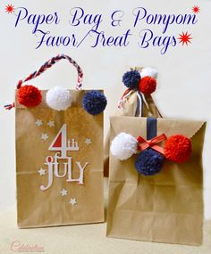 Paper Bag & Pompom Favor/Treat Bags - easy, fun and inexpensive for July 4th or any celebration! At Little Miss Celebration  @Cindy Eikenberg