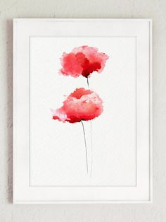 Poppies watercolor painting, red art print, poppies painting, poppy watercolors, red nursery art