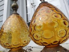 2 Mid Century Modern Glass Table Lamps INCREDIBLE! vintage 1960s Orb amber brass