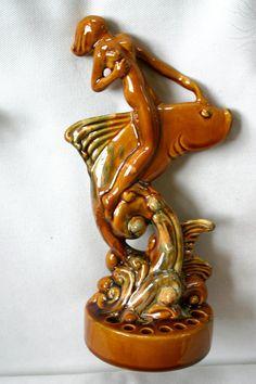 Art Deco Flower Frog Mermaid Riding Fish