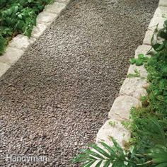 Garden Paths: 16 Easy-to-Imitate Stone Walkways Gravel Walk. - Garden Paths: 16 Easy-to-Imitate Stone Walkways Gravel Walkway – Stone Walkw - Unique Garden, Easy Garden, Lawn And Garden, Garden Paths, Walkway Garden, Pea Gravel Garden, Patio Ideas Using Pea Gravel, Garden Kids, Big Garden