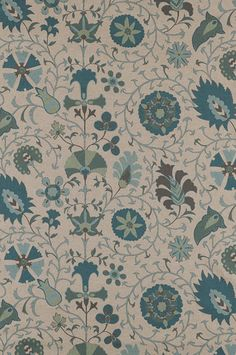 Upholstery Fabric, Home Decor Fabric, Designer Fabric, Cotton, Blue Suzani, Seafoam Blue, Seafoam Green, Home Furnishing, By The Yard
