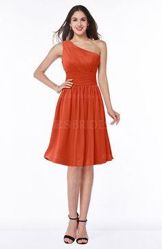 Persimmon Sexy Asymmetric Neckline Sleeveless Zip up Chiffon Knee Length Plus Size Bridesmaid Dresses