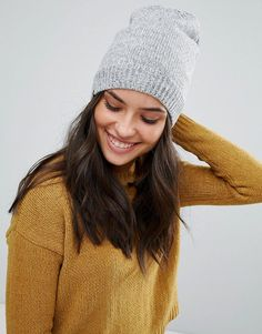 PLUSH FLEECE LINED KNIT MARLED BEANIE HAT IN HEATHER GRAY - GRAY. #plush #