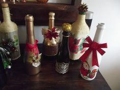 garrafas decorativas natalina Feito por mim Artesanato exclusivo