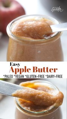 This homemade Apple Butter is easy to make and filled with intense apple flavor and a medley of delicious warm spices! Made in just one pot, this apple spread is the perfect condiment for fall. Includes slow cooker and instant pot directions and is freezer-friendly, naturally gluten-free, dairy-free, vegan and paleo-friendly. #paleo #vegan #glutenfree #dairyfree