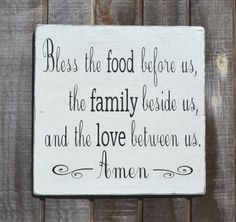 Bless the food before us - Holidays - Painted Wood Sign Rustic - Wedding Gift - Thanksgiving Christmas - Dining Room Kitchen Blessing Sign