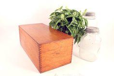 Vintage Globe Quartersawn Oak Wood Large Recipe Box by Circa810, $45.00