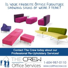The Crew provides Professional Re-Upholstery Services Interiors without breaking your budget! For more information Call The Crew at: Recycled Furniture, Outdoor Furniture Sets, Outdoor Decor, Office Moving, Floor Chair, Office Furniture, Upholstery, Recycling, Budget