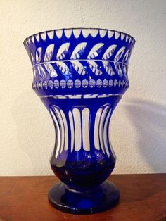 Antique 1800's Crystal Vase Blue and Clear Glass by threefootweid, $65.00