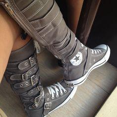 Knee-high buckled Converse All-Star Chuck Taylor :)