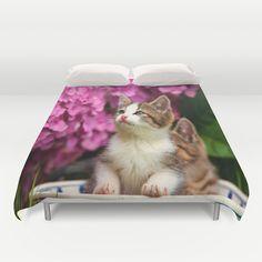 Kittens in bowl Duvet Cover