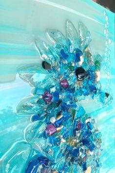 Sea Art, Sea Glass Art, Seahorse Art, Seahorses, Outdoor Art, Outdoor Decor, Crazy Bird, White Acrylic Paint, Glass Artwork