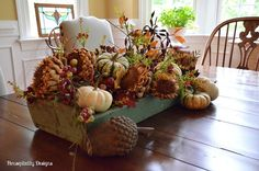 Wood tote/caddy filled with Fall florals and pumpkins : Housepitality Designs