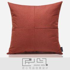 匠心宅品现代简约样板房/软装靠包抱枕红进口夹棉拼接方枕{不含芯